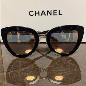 Chanel Black 5368 Rose Gold Cat Eye Sunglasses